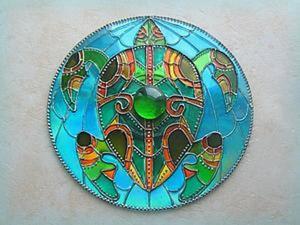 """Витражный магнит на диске """"Черепашка"""". Ярмарка Мастеров - ручная работа, handmade."""