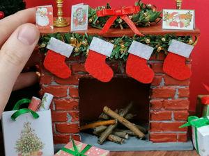Новогодний камин для куклы своими руками. Ярмарка Мастеров - ручная работа, handmade.