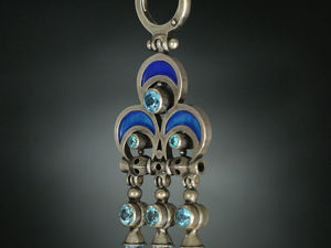 Двухсторонние серьги Тройчатки с голубыми топазами. Ярмарка Мастеров - ручная работа, handmade.