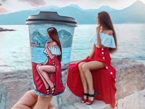 What Came First — a Drawing or a Photo? Animated Portraits on Coffee Cups by Vitaliya Boyko. Livemaster - hecho a mano - handmade.