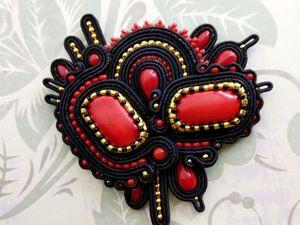 Сутажная брошь Хохлома из Коллекции Русские узоры. Ярмарка Мастеров - ручная работа, handmade.