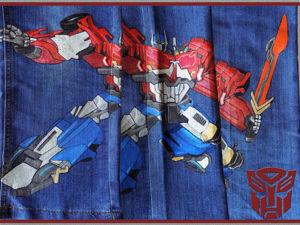Декорируем джинсы рисунком трансформера Оптимуса Прайма. Ярмарка Мастеров - ручная работа, handmade.