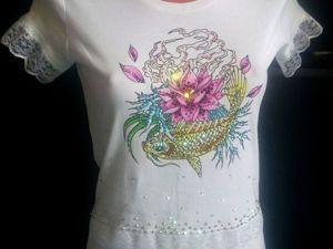 Декорируем футболку «Легкий бриз» стразами Swarovski. Ярмарка Мастеров - ручная работа, handmade.