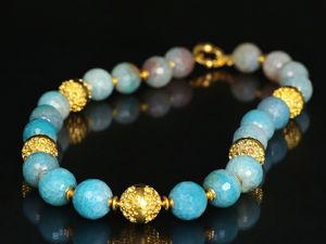Колье с голубым агатом. Ожерелье голубой агат. Ярмарка Мастеров - ручная работа, handmade.