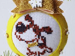 Шьем из фетра новогодний шар с вышитой собакой. Ярмарка Мастеров - ручная работа, handmade.