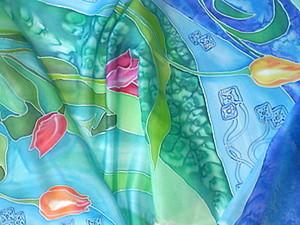 Роспись тюльпанового шарфика шаг за шагом. Ярмарка Мастеров - ручная работа, handmade.