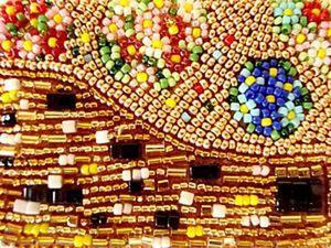 Вышиваем бисером серьги по мотивам картины Климта «Поцелуй». Ярмарка Мастеров - ручная работа, handmade.