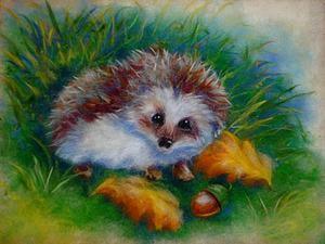 Рисуем шерстью забавного Ежика в осеннем лесу. Ярмарка Мастеров - ручная работа, handmade.