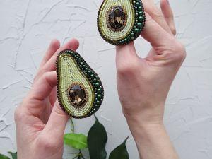 Скоро выйдет МК с готовым набором материалов для вышивки броши  «Авокадо». Ярмарка Мастеров - ручная работа, handmade.