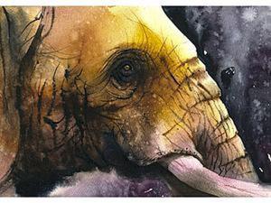 Рисуем портрет слона акварелью. Ярмарка Мастеров - ручная работа, handmade.