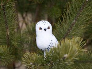 Валяем елочную игрушку «Белая полярная сова». Ярмарка Мастеров - ручная работа, handmade.
