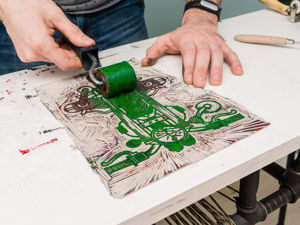 Linocut: Let's Print Together on Postcards, T-Shirts, Walls!. Livemaster - handmade