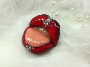Брошь: сочные губы. Ярмарка Мастеров - ручная работа, handmade.