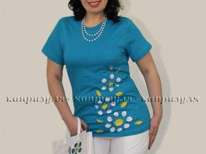 Украшаем женскую футболку цветами. Ярмарка Мастеров - ручная работа, handmade.