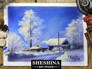 Рисуем зимний пейзаж сухой пастелью. Ярмарка Мастеров - ручная работа, handmade.