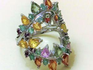 Видео серебряного кольца с натуральными камнями  «Фантазия». Ярмарка Мастеров - ручная работа, handmade.