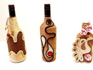 3 Идеи декора бутылок своими руками из джута и мешковины. Ярмарка Мастеров - ручная работа, handmade.