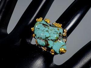 Кольцо с натуральной не облагороженой бирюзой. Ярмарка Мастеров - ручная работа, handmade.