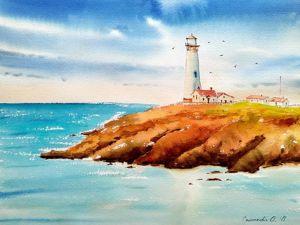 Картина  «Маяк в море». Ярмарка Мастеров - ручная работа, handmade.