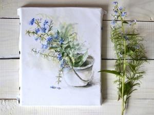 Видео мастер-класс: рисуем акварелью «Букетик незабудок». Ярмарка Мастеров - ручная работа, handmade.