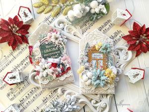 Создаем тканевые новогодние открытки «Домики». Ярмарка Мастеров - ручная работа, handmade.