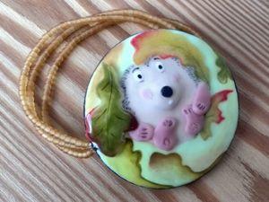 Браслет детский «Ёжик под листом». Ярмарка Мастеров - ручная работа, handmade.