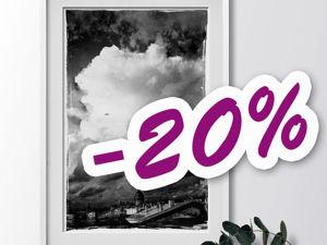 Авторский отпечаток  «Крыши и облака»  со скидкой 20%. Ярмарка Мастеров - ручная работа, handmade.