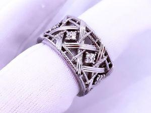 Широкое золотое кольцо с бриллиантами. Ярмарка Мастеров - ручная работа, handmade.