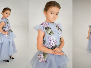 Детское платье от кутюр лавандовое с гортензиями. Ярмарка Мастеров - ручная работа, handmade.