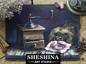 Видеоурок: рисуем натюрморт с кофемолкой сухой пастелью. Ярмарка Мастеров - ручная работа, handmade.