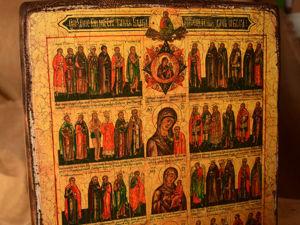 Икона «Сказание, каким святым какие благодати исцеления даны от Бога». Ярмарка Мастеров - ручная работа, handmade.
