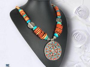 Колье в Бохо-стиле с бусинами коралла и бирюзы своими руками. Ярмарка Мастеров - ручная работа, handmade.