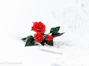 """Создаем брошь """"Красные розы"""". Ярмарка Мастеров - ручная работа, handmade."""