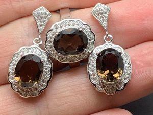Серьги и кольцо с дымчатым кварцем серебряные. Ярмарка Мастеров - ручная работа, handmade.