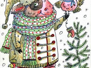 Новогодняя открытка с бычком. Ярмарка Мастеров - ручная работа, handmade.