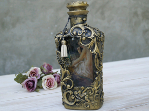 How to Create 3D Bottle Decor: Reverse Decoupage with Drawing. Livemaster - handmade