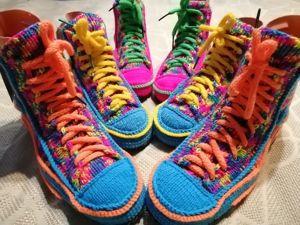 Выбираем Вязаные Кеды-тапочки-носки на Свой Вкус, Цвет И Размер!. Ярмарка Мастеров - ручная работа, handmade.