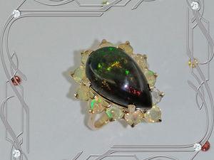 Кольцо «Black-Mamba» золото 585 пробы, опалы. Ярмарка Мастеров - ручная работа, handmade.