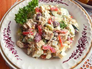 Салат с куриной грудкой и консервированной фасолью. Ярмарка Мастеров - ручная работа, handmade.