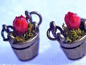 Создаем серьги с сухоцветами  «Ведёрко». Ярмарка Мастеров - ручная работа, handmade.