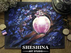 Видеоурок: рисуем японский фонарик на цветущей сакуре сухой пастелью. Ярмарка Мастеров - ручная работа, handmade.
