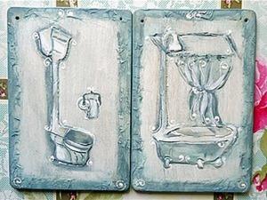 Объемный рисунок текстурной пастой: создаем таблички для ванной комнаты и туалета. Ярмарка Мастеров - ручная работа, handmade.