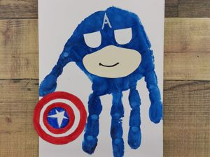 Как нарисовать ладошками Капитана Америку? Пальчиковый метод. Ярмарка Мастеров - ручная работа, handmade.