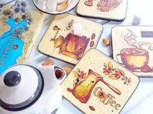 Декорирование подставок под кофейные чашки. Ярмарка Мастеров - ручная работа, handmade.