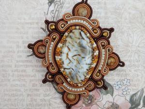 Брошь с агатами (видео и фотографии). Ярмарка Мастеров - ручная работа, handmade.