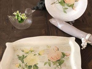 Тарелка декупаж Две Розы. Весна пришла. Ярмарка Мастеров - ручная работа, handmade.