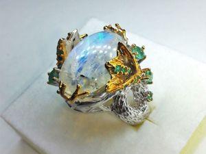 Скидка 20% на кольцо с натуральным лунным камнем и изумрудами!. Ярмарка Мастеров - ручная работа, handmade.