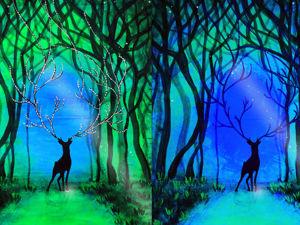Светящаяся картина Волшебный лес. По мотивам сказа Бажова Серебряное копытце. V2 Acrylic Speedpaint. Ярмарка Мастеров - ручная работа, handmade.