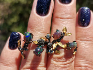Видео кольца с натуральными чеными опалами. Ярмарка Мастеров - ручная работа, handmade.