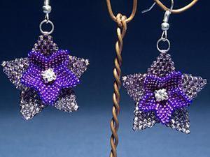 Плетем серьги из бисера «Полуночные цветы». Ярмарка Мастеров - ручная работа, handmade.